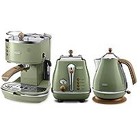 De'Longhi 德龙 Icona Vintage复古早餐系列咖啡机+多士炉+电水壶--橄榄绿 (意大利品牌 香港直邮)