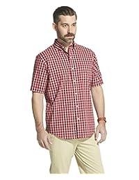 Arrow 1851 男式 Hamilton 府綢短袖系扣格子襯衫 自行車紅色 XX-Large