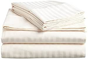 True Linen 产品 - 优雅 6 件床单套件,53.34 厘米深口袋,由 400 支 * 埃及长绒棉制成(1 件床笠,1 件床单和 4 件枕套)易于使用 象牙条纹 Queen XL TrueL007-0158