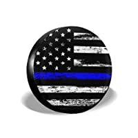 MSGUIDE 备用轮胎罩薄蓝色线美国国旗防风雨轮胎保护罩适用于吉普拖车房车SUV 卡车和许多车辆(14 英寸 15 英寸 16 英寸 17 英寸)