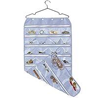 悬挂首饰收纳盒,带拉链,双面 56 个透明口袋,适用于耳环、项链、手镯、戒指配饰展示(灰色)