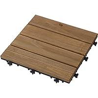 Takasho 铺上即可清洁 天然木材 自然棕色 9片装 约W30×D30×H2.6cm