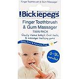 Bickiepegs 手指牙刷和牙龈按摩器两件装