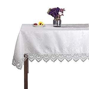 "JH 桌布白色长方形蕾丝桌布 适用于婚礼派对家居和厨房 白色 51""x51""(130x130cm)"