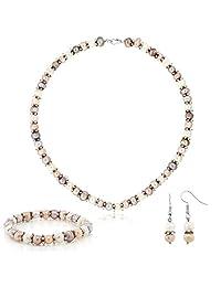 宝石王粉色和白色养殖淡水珍珠项链耳环手链套装 7-8 毫米 18 英寸