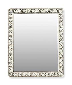 iDecoz 手机后视镜。 即剥即贴所有手机或保护套。 传统化妆镜的替代品。 这是随时随地快速、独立、自由地检查自己的*佳方式!RE556M 2 x 2 Inches Silver Rectangle w/Crystals