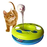 DINY 家居风格鼠标和球猫玩具坚固底座,带长毛绒鼠标和滚珠