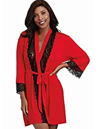 Dreamgirl 女式柔软氨纶针织长袍,带蕾丝嵌片
