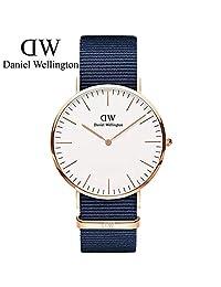 【新品新色发售】丹尼尔惠灵顿(DanielWellington)DW男表40mm金色边白盘蓝色尼龙织纹超薄男士石英手表