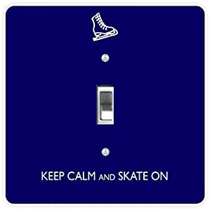 Rikki Knight Keep Calm and Skate on Blue Color-Single Toggle Light Switch Plate