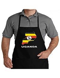 Eddany Uganda 国家地图颜色围裙