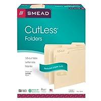 Smead Cutless 文件文件夹,1/3-剪裁标签,信函尺寸,马尼拉,每盒 100 张 (10341)