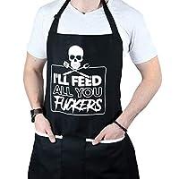 I'll Feed All You - 男式和女式趣味烹饪围裙 - 均码 - 耐用材质带大口袋 - 可清洗,丝印印花 - 非常适合烹饪、烧烤和送礼
