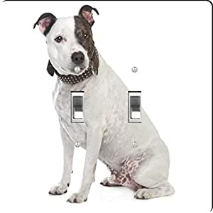 Rikki Knight Staffordshire Terrier Dog Design Double Toggle Light Switch Plate
