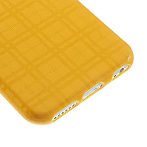 JUJEO Grid Pattern Soft TPU Shell Cover for iPhone 6 4.7-Inch - Non-Retail Packaging - Yellow