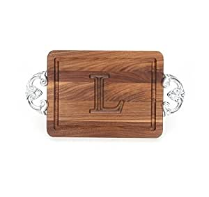 """CHUBBCO W200-CL-L Thick Bar/Cheese Board with Classic Cast Aluminum Handle, 9-Inch by 12-Inch by 3/4-Inch, Monogrammed """"L"""", Walnut"""