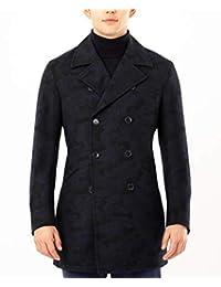 DKNY 男式常规迷彩 10 粒扣粗呢大衣