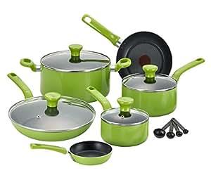 T-fal 特福 C968SE不粘锅 可用于洗碗机和烤箱 不含PFOA 14件套 绿色