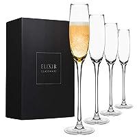 水晶香槟色长笛 – 优雅香槟酒杯,手工吹制 – 4 件套现代香槟酒杯,* 无铅优质水晶 – 婚礼礼物、周年纪念日、圣诞节 – 141.75 克,透明