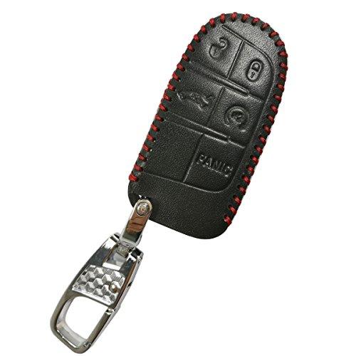 coolbestda 硅胶5纽扣智能钥匙套手机保护壳无钥匙远程夹克适用于 JEEP 大切诺基 DODGE CHALLENGER 充电器弹 durango JOURNEY 克莱斯勒300 黑皮革