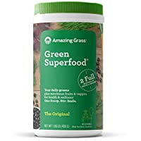 Amazing Grass Green Superfood 绿色粉末,螺旋藻,小球藻,消化酶和益生元,原始,60份,480克