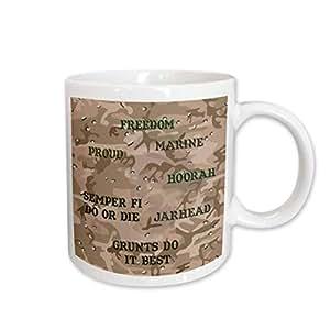 3dRose Desert Gulf War Camouflage with Marine Sayings Ceramic Mug, 11-Ounce