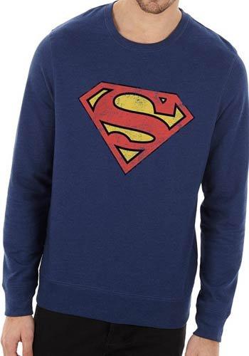 超人复古标志官方圆领蓝色