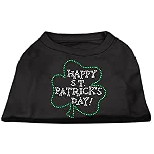 Mirage Pet Products Happy St. Patrick's Day Rhinestone Pet Shirt, Small, Black