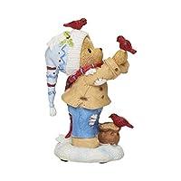 Roman Cherished Teddies 3.75 英寸 Buddy 圣诞小雕像和鸟儿泰迪雕像
