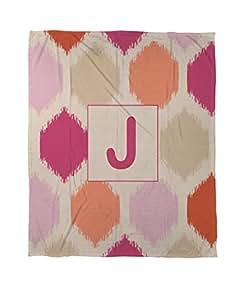 手工木工人和编织珊瑚绒抛物,152.4 x 203.2 厘米,交织字母 J,粉色织字母