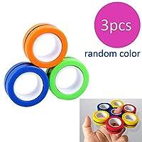 手指磁性环玩具 - 磁铁手链环耐用解锁手指环魔术环道具工具减压器旋转成人玩具 多种颜色