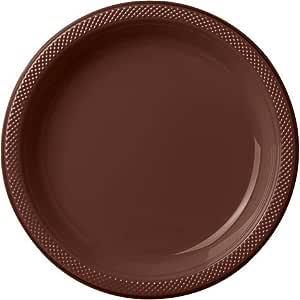 圆形塑料盘子 20 克拉 巧克力棕色 10.25 IN