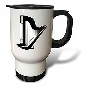 3dRose tm_41589_1 Black N Gray Harp Travel Mug, 14-Ounce, Stainless Steel