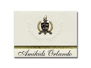 标志性公告 Amikids Orlando (Apopka, FL) 毕业公告,总统风格,25 件精英包装带金色和黑色金属箔封条
