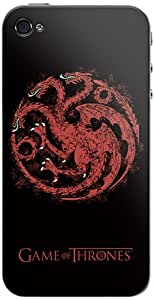Zing Revolution Game of Thrones Premium Vinyl Adhesive Skin for iPhone 4/4S, Targaryen S2 Black (MS-GOT350133)