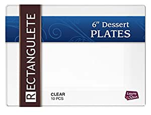 Rectangulete 7.5 英寸长方形清晰甜点派对盘子,一次性,硬塑料,优雅的派对盘子。 每包 10 个派对甜点盘子 LSR-6-C