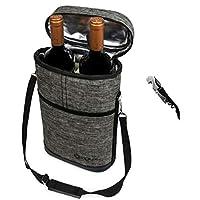 OPUX 高级保温*袋,优雅*红色手提袋,额外保护,便利,耐用*瓶袋,含有 Corkscrew 炭黑色 2 Bottle