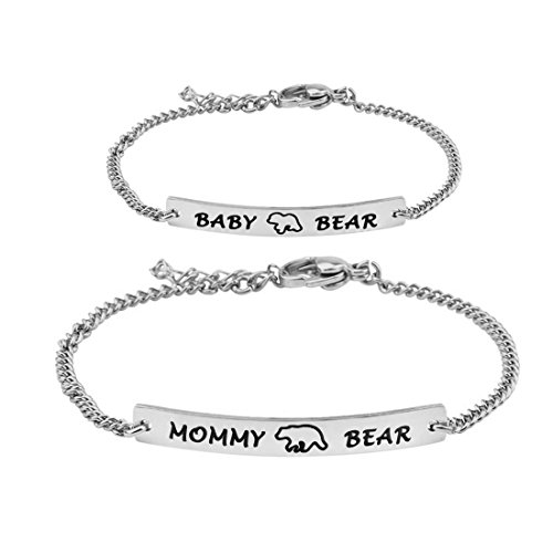 WUSUANED 妈熊和宝贝熊手镯套装 Mommy and Me Jewely Baptism 礼物送给新生儿 mommy baby bear set S