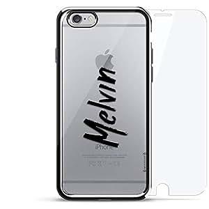 镀铬系列 360 套装:设计师手机壳 + 钢化玻璃 适用于 iPhone 6/6s PlusLUX-I6PLCRM360-NMMELVIN1 NAME: MELVIN, HAND-WRITTEN STYLE 银色