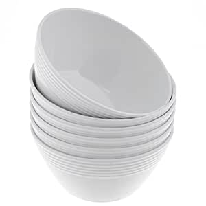 Handi-Ware 6 只装三聚氰胺 15.24 厘米圆形碗,抗破碎防碎,室内/室外,波浪边缘设计,Unity 出品 白色 4336357054