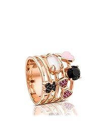 TOUS 桃丝熊 时尚优雅女士粉红朱红银搪瓷心形戒指 玫瑰金色 (西班牙品牌)