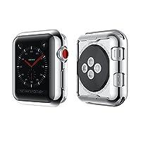 KONKY Apple Watch 保护壳适用于系列 3 & 2 的软 TPU 整体保护防刮高清透明缓冲保护套适用于 iWatch Series 2 & 3 38mm 银色
