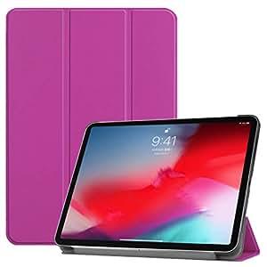 iPad Pro 11 2018 保护套,Ezydigital 轻质智能三折支架保护套,带自动休眠/唤醒/苹果铅笔充电/超细纤维衬里,适用于 iPad Pro 11 英寸 2018 的磁性超薄保护套 紫色