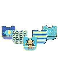 Luvable Friends 美国熊宝宝婴儿5件装PEVA口水巾 02171蓝色