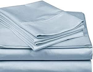 奢华 300 支床单套装,* 埃及长绒棉长绒纱线,棉缎编织,耐用柔软,袋深 45.72 cm,多色 蓝色 两个
