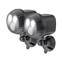 Mr Beams 300 流明防水无线电池供电 LED 超亮聚光灯带运动传感器 棕色 400 流明 2 件装 MB392-BRN-02-13