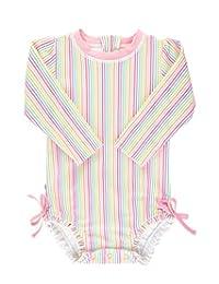 RuffleButts 婴幼儿女童长袖连体泳衣 UPF 50+ *