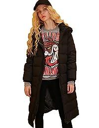 Elf Sack Women's Hooded Down Jacket Long Winter Coats With Raglan Sleeve