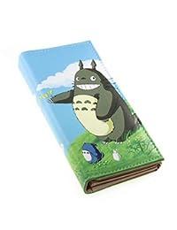 日式风格 PU 皮革可爱龙猫图案卡通三折钱包现金长款钱包卡夹男女童