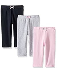 Luvable Friends 婴儿女童打底裤3个装 Light Pink/Black 3T